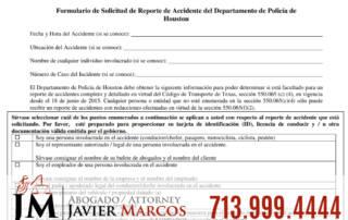 Reporte de policia despues de un accidente | Abogado Javier Marcos | 713.999.4444